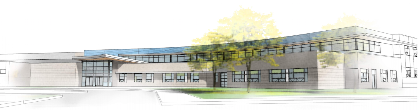 New school on Ames campus drawing entry perspective