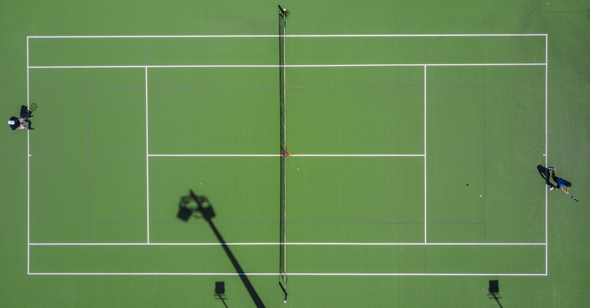 Aerial image of singles tennis match