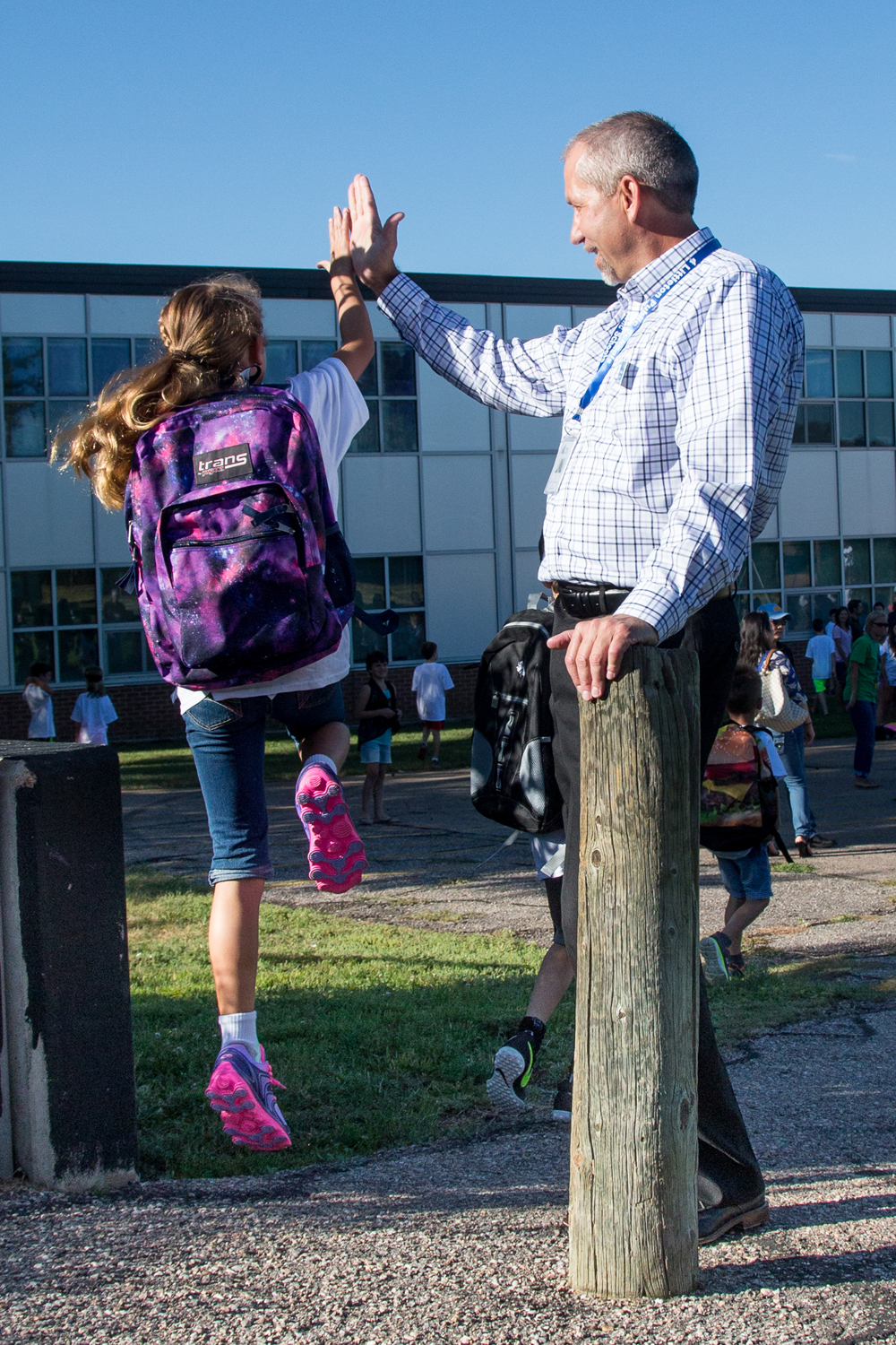 Superintendent Brian Ewert on the first day of school 2015