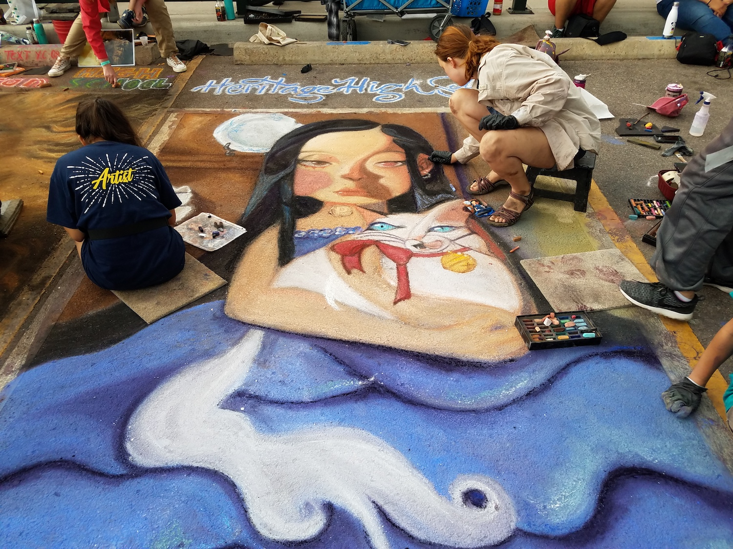 HHS students working - 2019 Chalk Art Festival