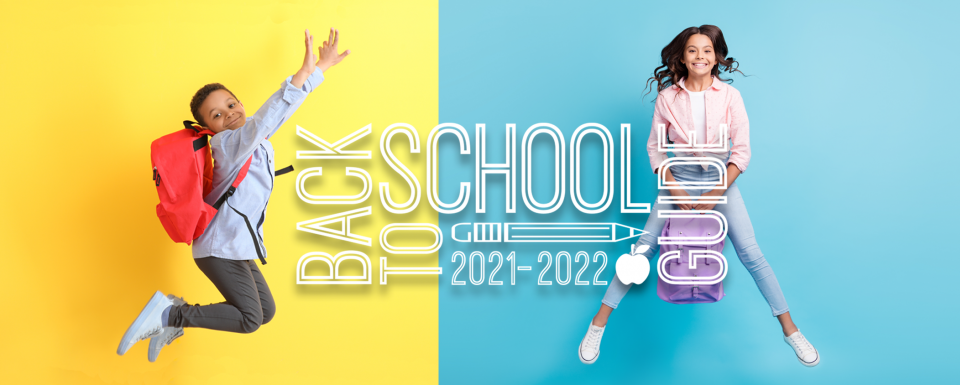 21-22 Back to School Guide: Kids with backpacks, jumping